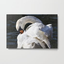 The Peaceful Swan Art Metal Print
