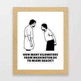 How many kilometers from Washington DC to Miami Beach Framed Art Print