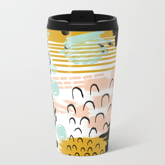 Ames - abstract painting hipster home decor trendy color palette art gifts Metal Travel Mug