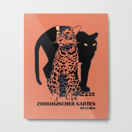 Retro vintage Munich Zoo big cats Metal Print