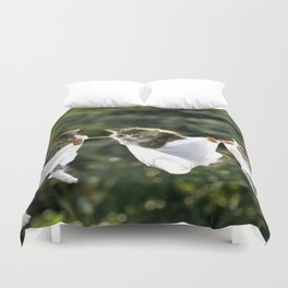 Kittens in underwear on clothesline Duvet Cover
