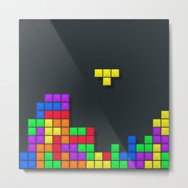 Tetris print design Metal Print