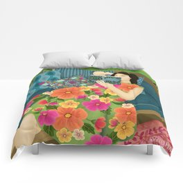 Women Who Read Are Dangerous- Woman reading plant filled room Comforters
