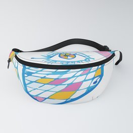 Girl with blue glasses, yellow eyes and color hair Fanny Pack