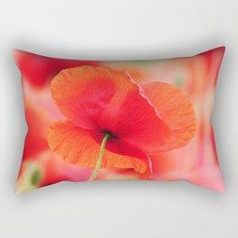 poppies square mural, in closeup Rectangular Pillow