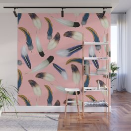 Pattern with feathers on a pink background Wall Mural
