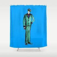 givenchy Shower Curtains featuring Beetles Green Dandy by Notsniw