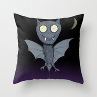 bat Throw Pillows featuring Bat by Bwiselizzy
