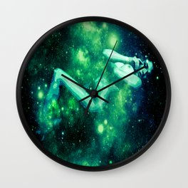 Green Galaxy Woman : Nude Art Wall Clock