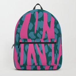 Retro Pink Striped Leopard Pattern Backpack