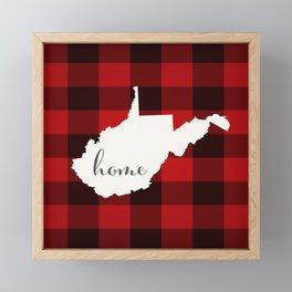 West Virginia is Home - Buffalo Check Plaid Framed Mini Art Print