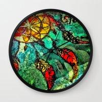 dream catcher Wall Clocks featuring Dream Catcher by BeachStudio