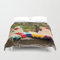 hats Duvet Covers featuring Straw hats by Simon Ede Photography