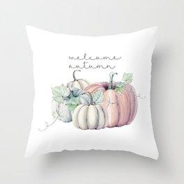 welcome autumn orange pumpkin Throw Pillow