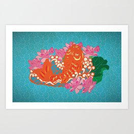 Fish (Japan Carp) Graphic with Japan Painting Style Art Print