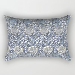William Morris Navy Blue Botanical Pattern 7 Rectangular Pillow