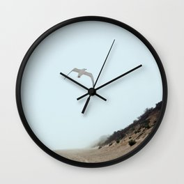 Gull and Foggy Beach Wall Clock