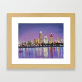 "Downtown Cleveland Ohio Skyline ""The Land"" in City Lights Framed Art Print"