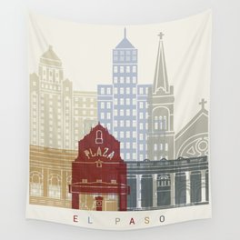 El Paso skyline poster Wall Tapestry