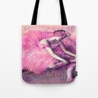 degas Tote Bags featuring Ballerina Peach Pink by PureVintageLove
