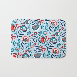 Floral Roma (Blue/Red) Bath Mat