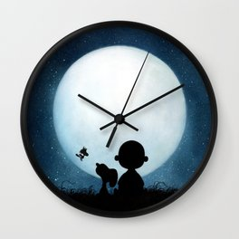 full moon snoopy charlie brown Wall Clock