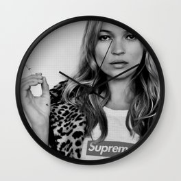 Kate Moss old digitally manipulated black an white photo Wall Clock