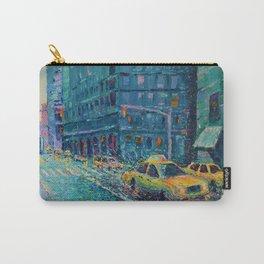 Rainy Day in New York - Palette Knife urban art city landscape by Adriana Dziuba Carry-All Pouch