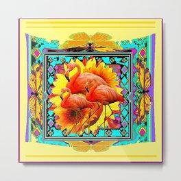 Ornate Yellow Art Flamingos Turquoise-Blue Design Metal Print