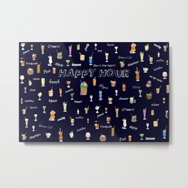 Happy Hour Cocktails and Brews on Dark Blue Metal Print