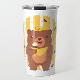 Bear Cub Eating Ice Cream in Forest Travel Mug