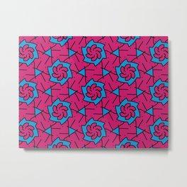 Patterns: Pink Blue Flowers Metal Print