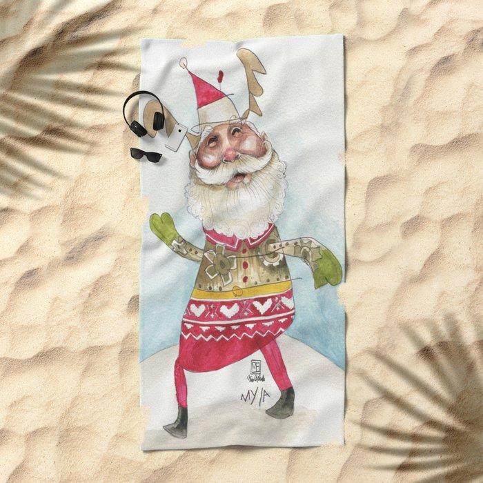 Steampunk Santa Beach Towel