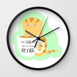 Caffeine Deprived Kitten Wall Clock
