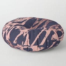 Rose Gold Navy Blue Modern Chic Marble Pattern Floor Pillow