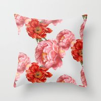 vintage floral Throw Pillows featuring vintage floral by cardboardcities