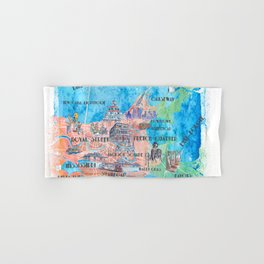 New Orleans Louisiana Illustrated Map with Main Roads Landmarks and Highlights Hand & Bath Towel