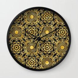 Art Deco 24-Karat Glitzy Gold Sparkle Pattern Wall Clock