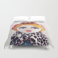 rockabilly Duvet Covers featuring Rockabilly Girl by A Little Vintage