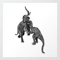 trex Art Prints featuring Trex Verus Elephant by Addison Karl