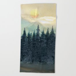 Forest Under the Sunset II Beach Towel