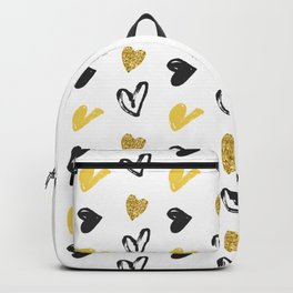 Gold and black hearts pattern Backpack