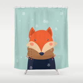 Fox Under Snow in the Christmas Time. Shower Curtain