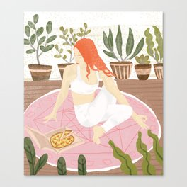Yoga + Pizza Canvas Print
