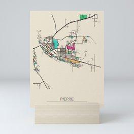Colorful City Maps: Pierre, South Dakota Mini Art Print