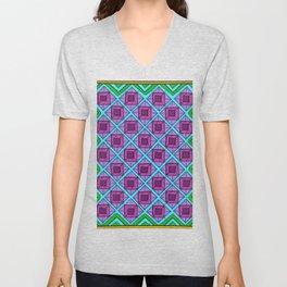 Squares in Diamonds Blur Unisex V-Neck