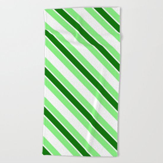 Green stripes Beach Towel