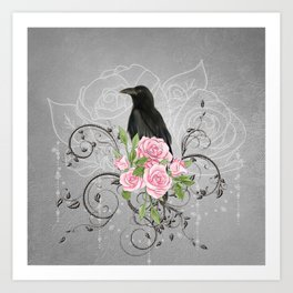 Wonderful crow with flowers Art Print