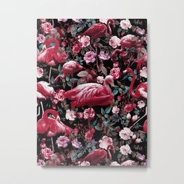 Floral and Flamingo VIII pattern Metal Print