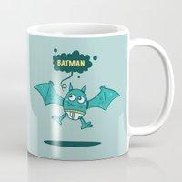 bat man Mugs featuring Bat Man Bat by Drew